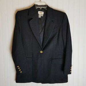 Talbots Black Wool Gold Crest Buttons Jacket